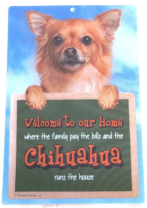 CHIHUAHUA LONG HAIR 3D WELCOME SIGN 23CM X 15CM DOG SIGN